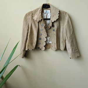 Proenza Schouler Leather Suede Scalloped Jacket